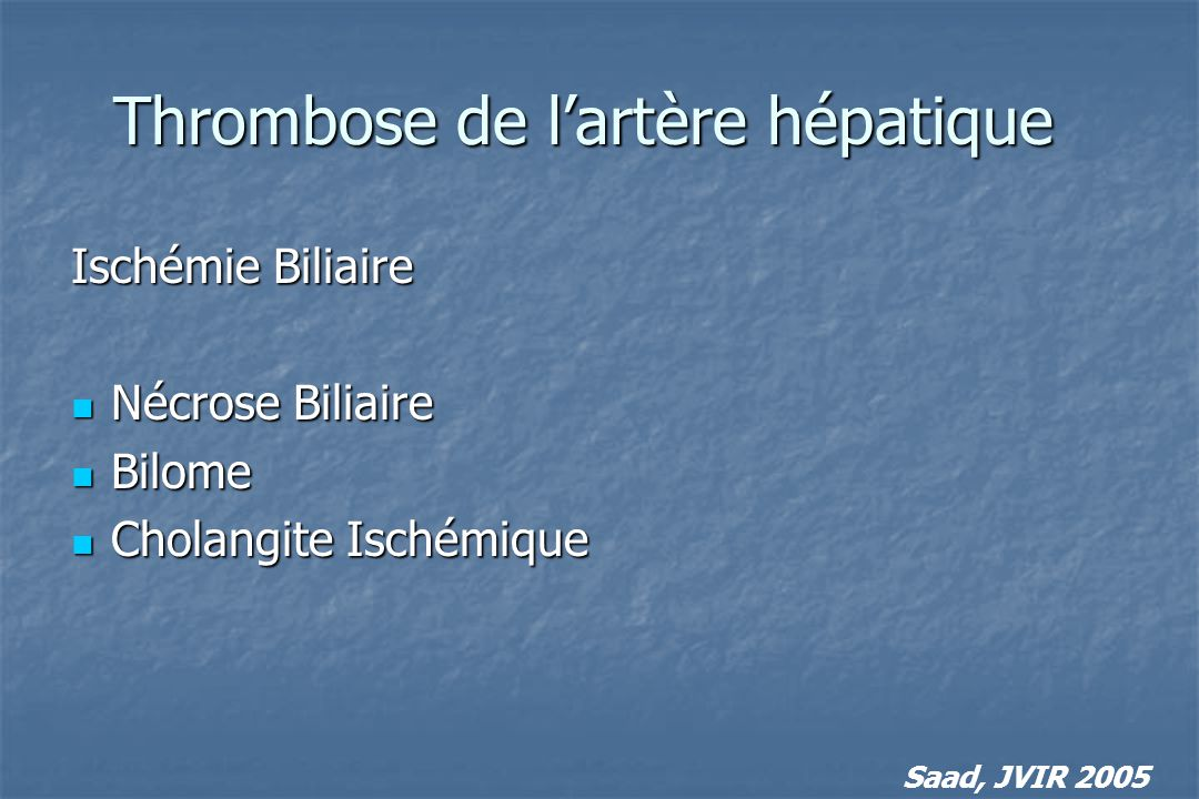 Thrombose de l'artère hépatique