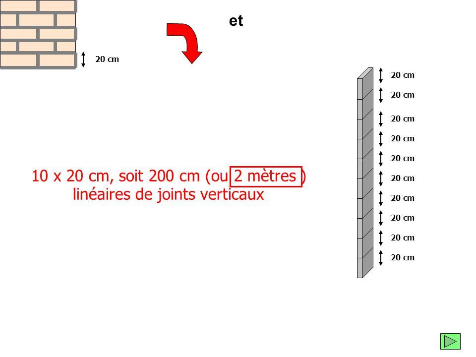 10 x 20 cm, soit 200 cm (ou 2 mètres ) linéaires de joints verticaux