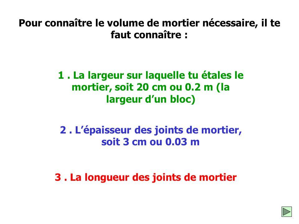 Pour connaître le volume de mortier nécessaire, il te faut connaître :