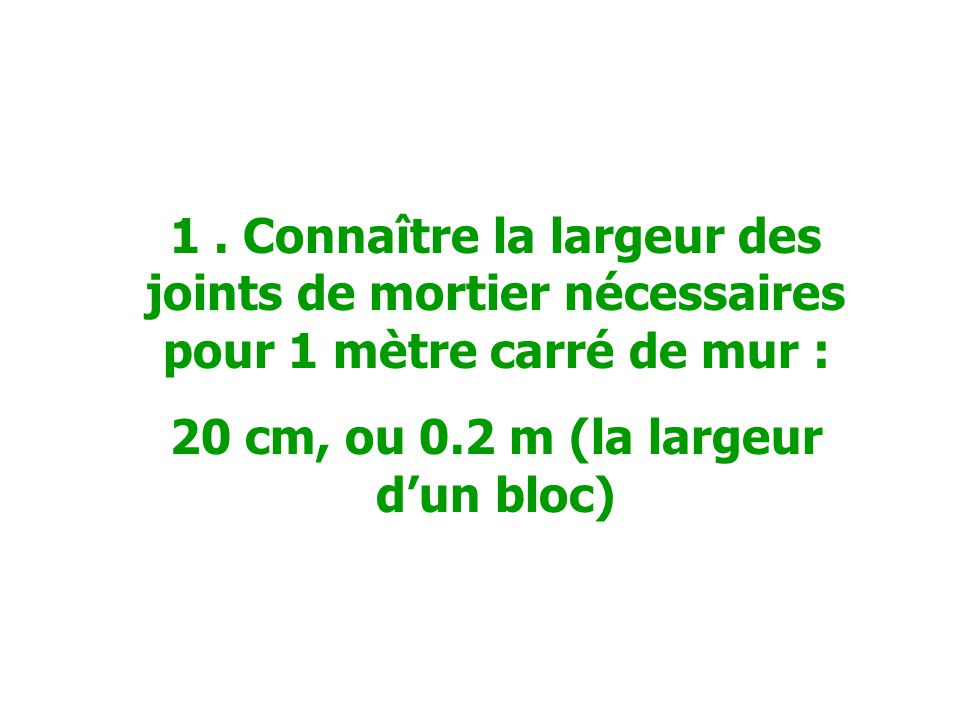 20 cm, ou 0.2 m (la largeur d'un bloc)