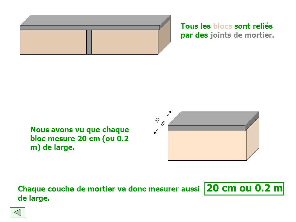 Tous les blocs sont reliés par des joints de mortier.