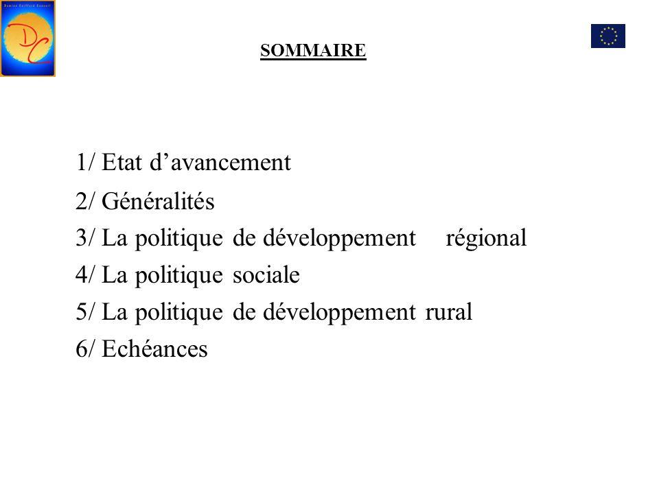 1/ Etat d'avancement 2/ Généralités