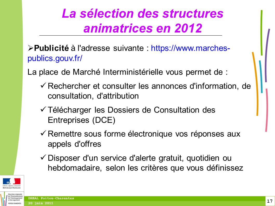La sélection des structures animatrices en 2012
