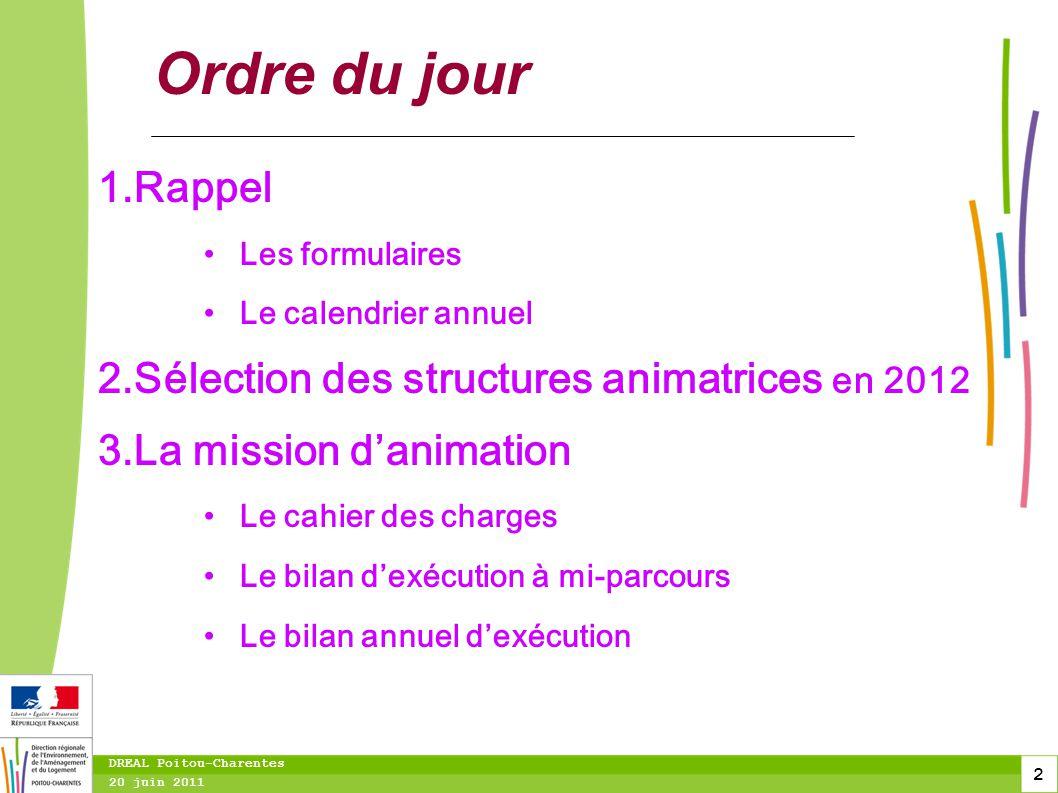 Ordre du jour Rappel Sélection des structures animatrices en 2012