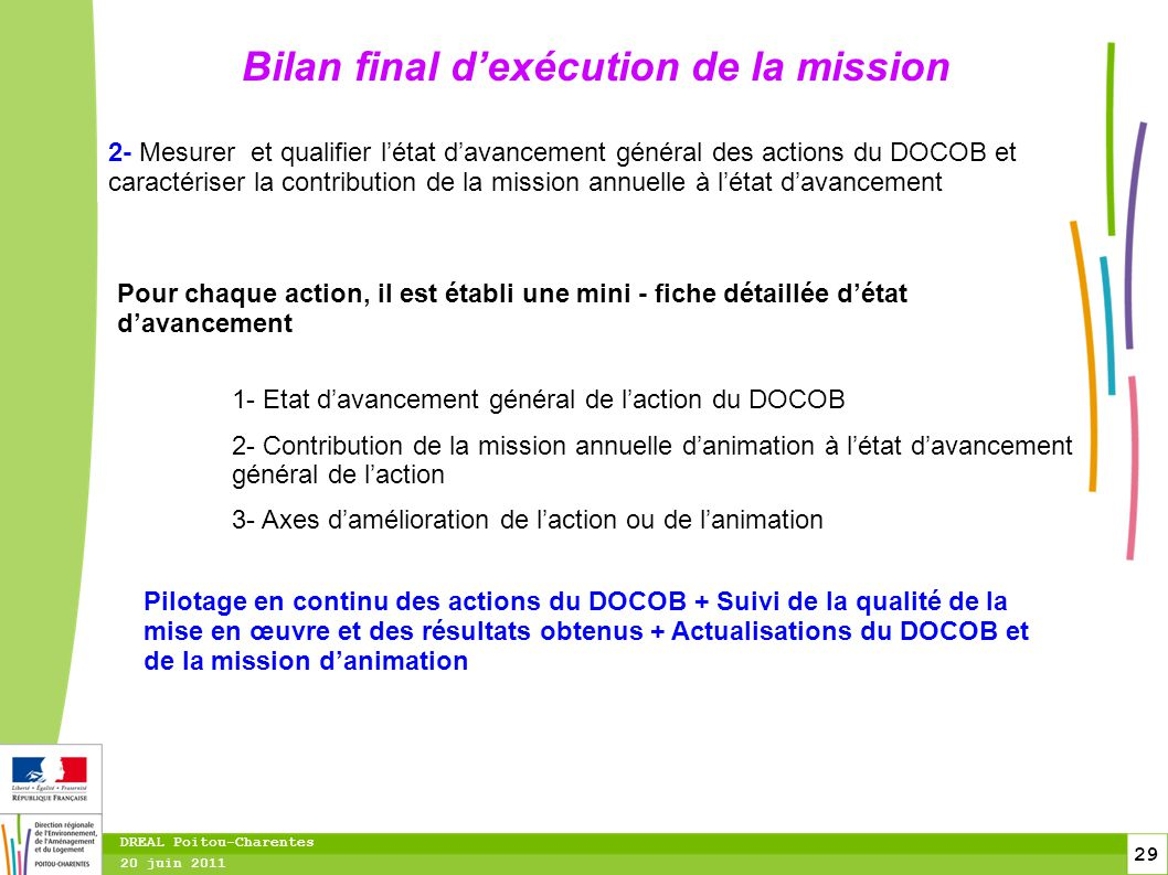 Bilan final d'exécution de la mission