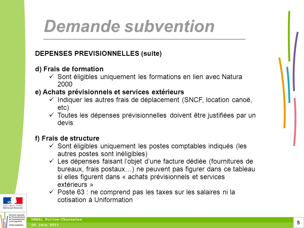 Demande subvention DEPENSES PREVISIONNELLES (suite)