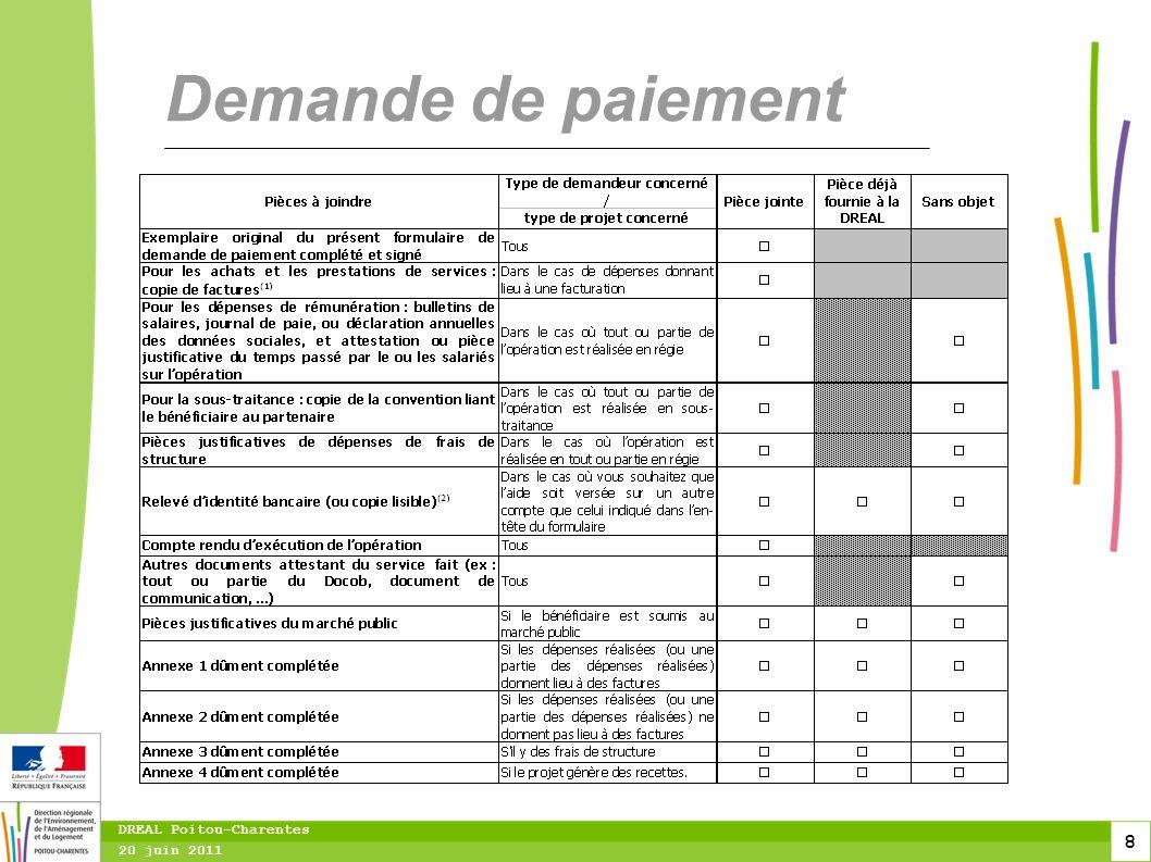 Demande de paiement DREAL Poitou-Charentes 20 juin 2011