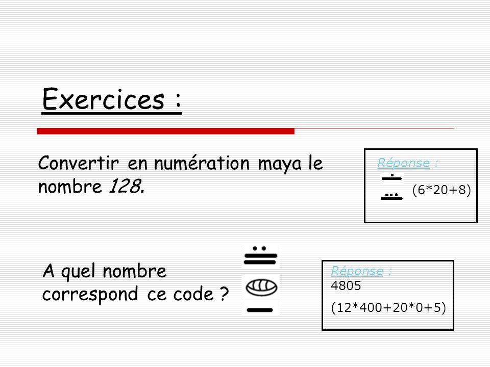 Exercices : Convertir en numération maya le nombre 128.