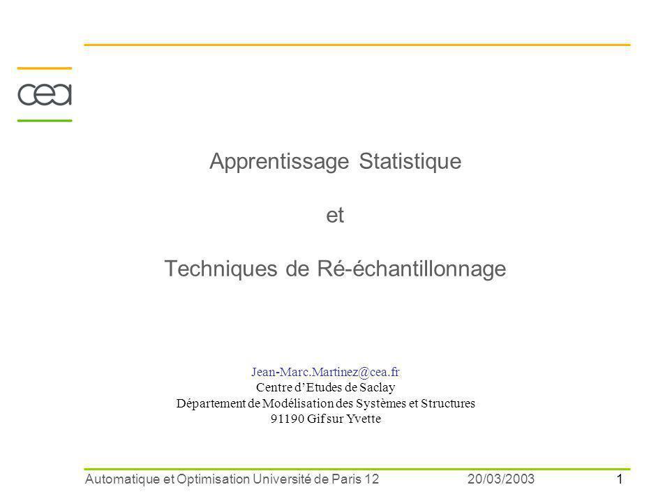 Apprentissage Statistique et Techniques de Ré-échantillonnage