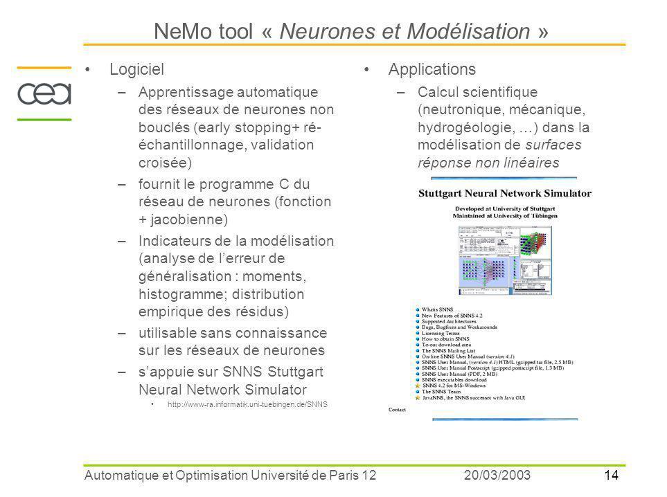 NeMo tool « Neurones et Modélisation »