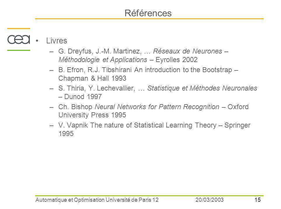 Références Livres. G. Dreyfus, J.-M. Martinez, … Réseaux de Neurones – Méthodologie et Applications – Eyrolles 2002.