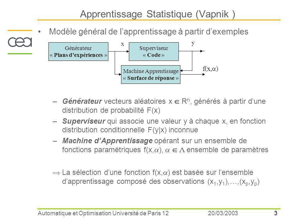 Apprentissage Statistique (Vapnik )