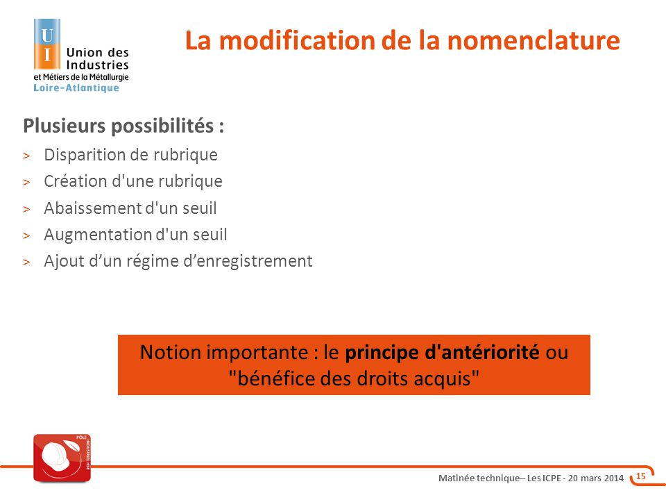 La modification de la nomenclature