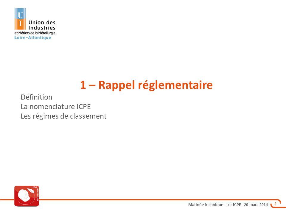 1 – Rappel réglementaire