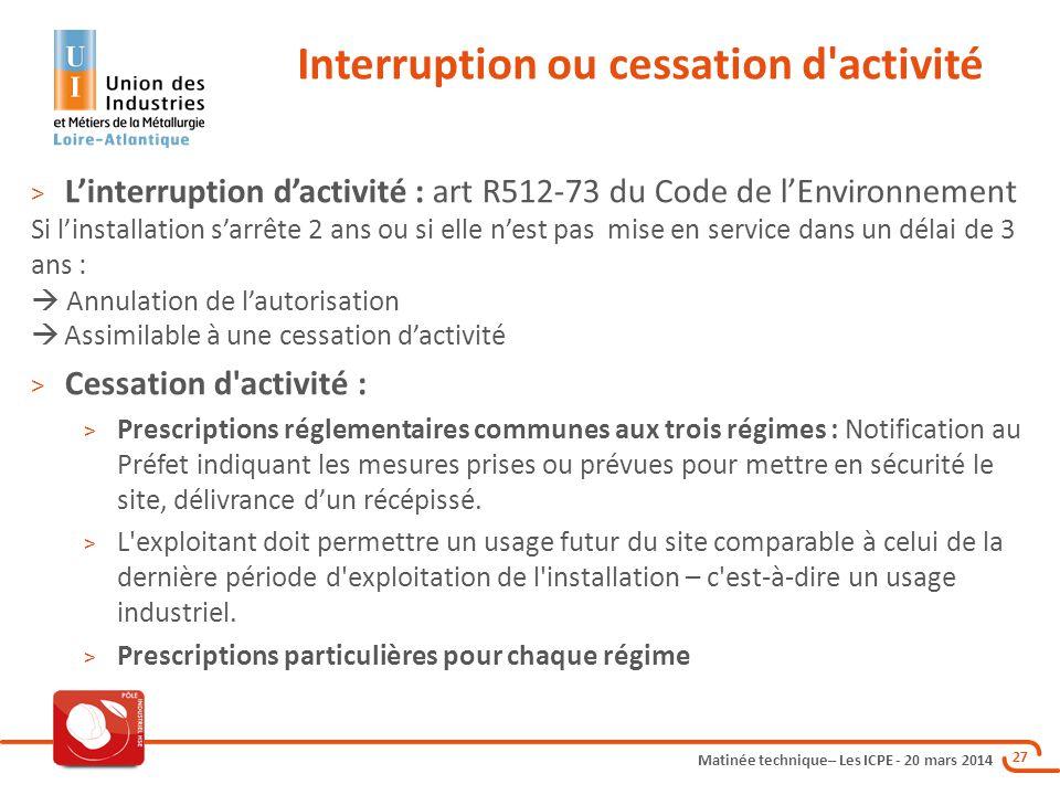 Interruption ou cessation d activité