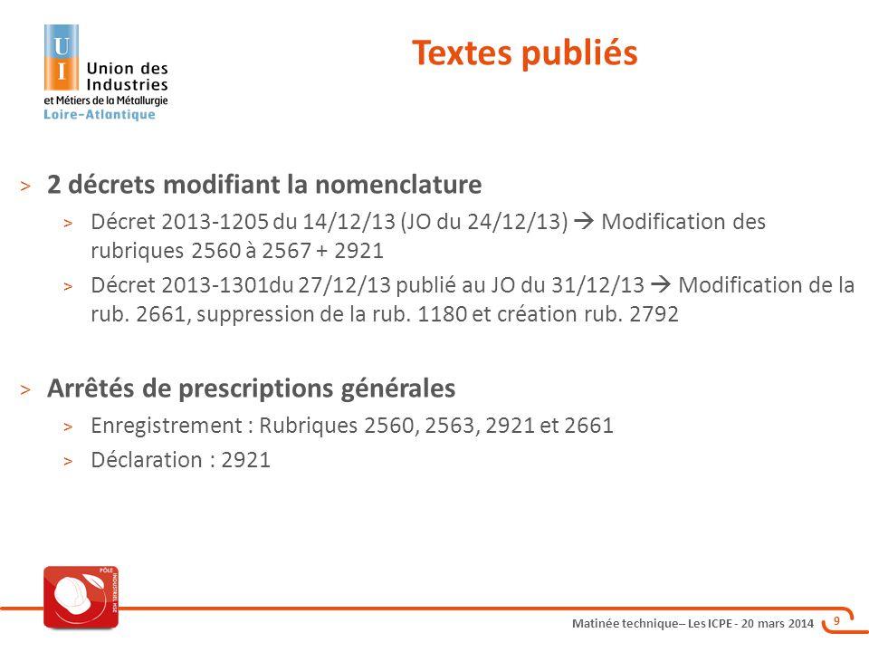 Textes publiés 2 décrets modifiant la nomenclature