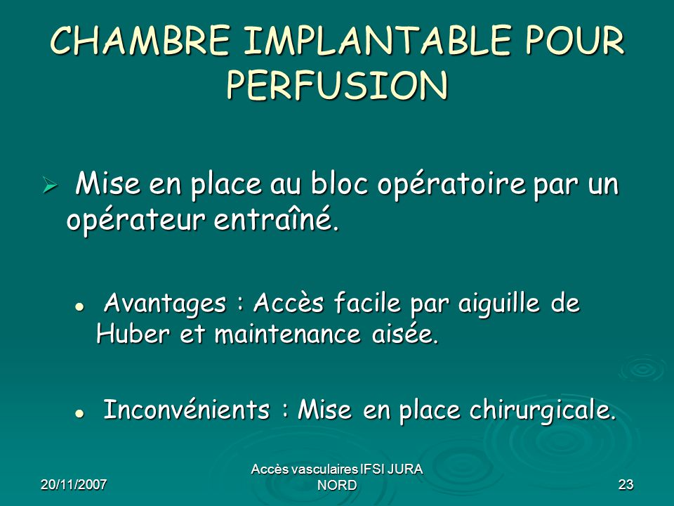 CHAMBRE IMPLANTABLE POUR PERFUSION