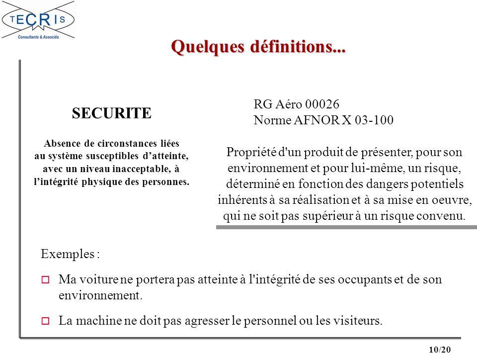 Quelques définitions... SECURITE RG Aéro 00026 Norme AFNOR X 03-100
