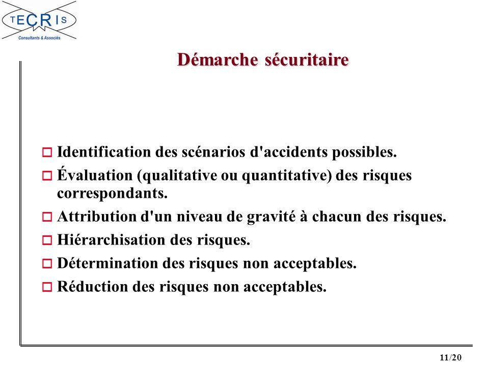 Démarche sécuritaire Identification des scénarios d accidents possibles. Évaluation (qualitative ou quantitative) des risques correspondants.