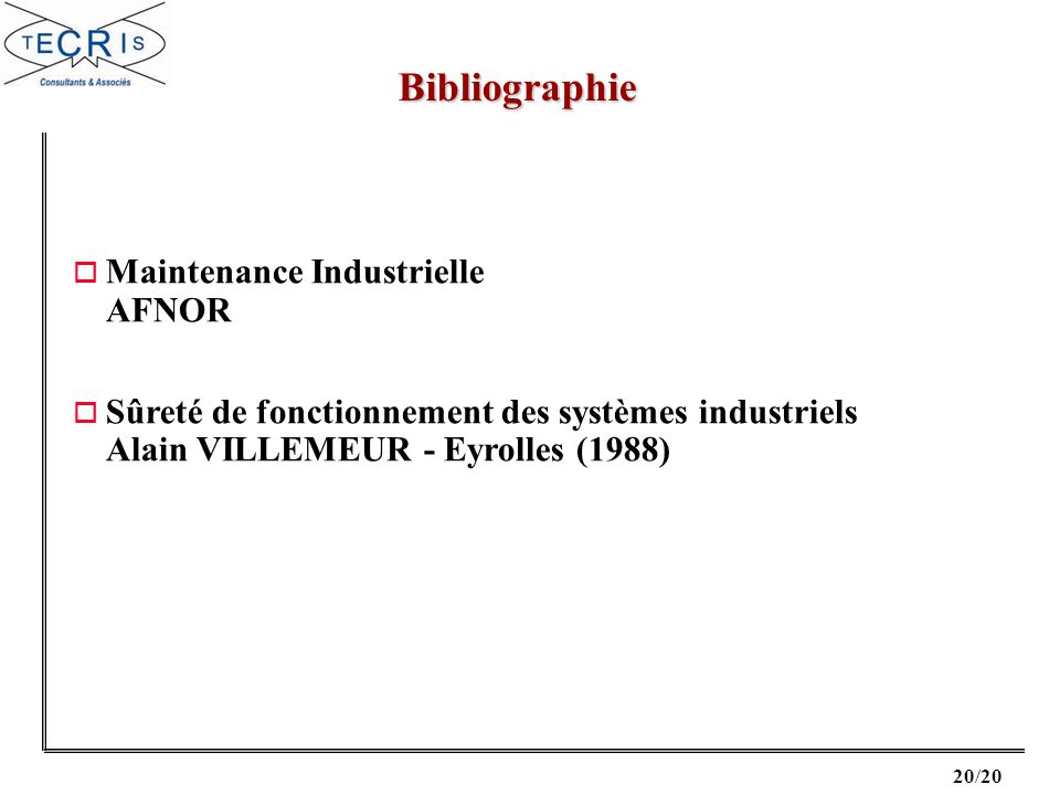 Bibliographie Maintenance Industrielle AFNOR