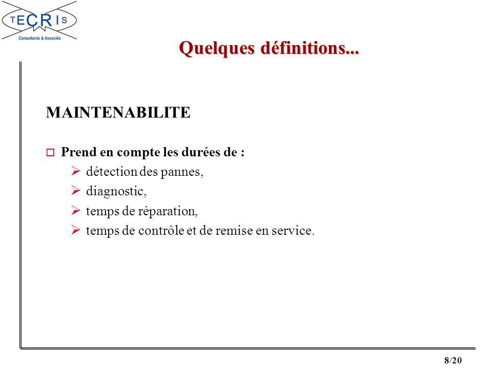 Quelques définitions... MAINTENABILITE Prend en compte les durées de :