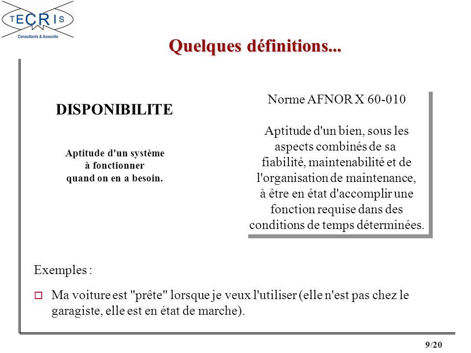 Quelques définitions... DISPONIBILITE Norme AFNOR X 60-010