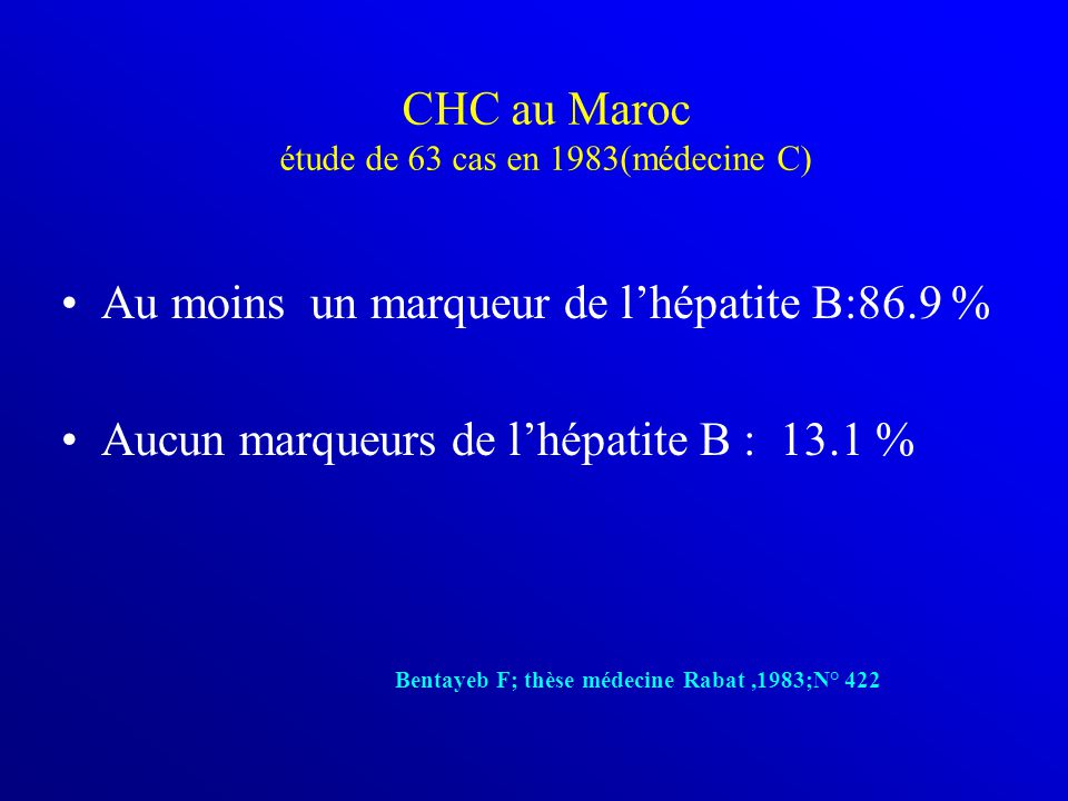 CHC au Maroc étude de 63 cas en 1983(médecine C)