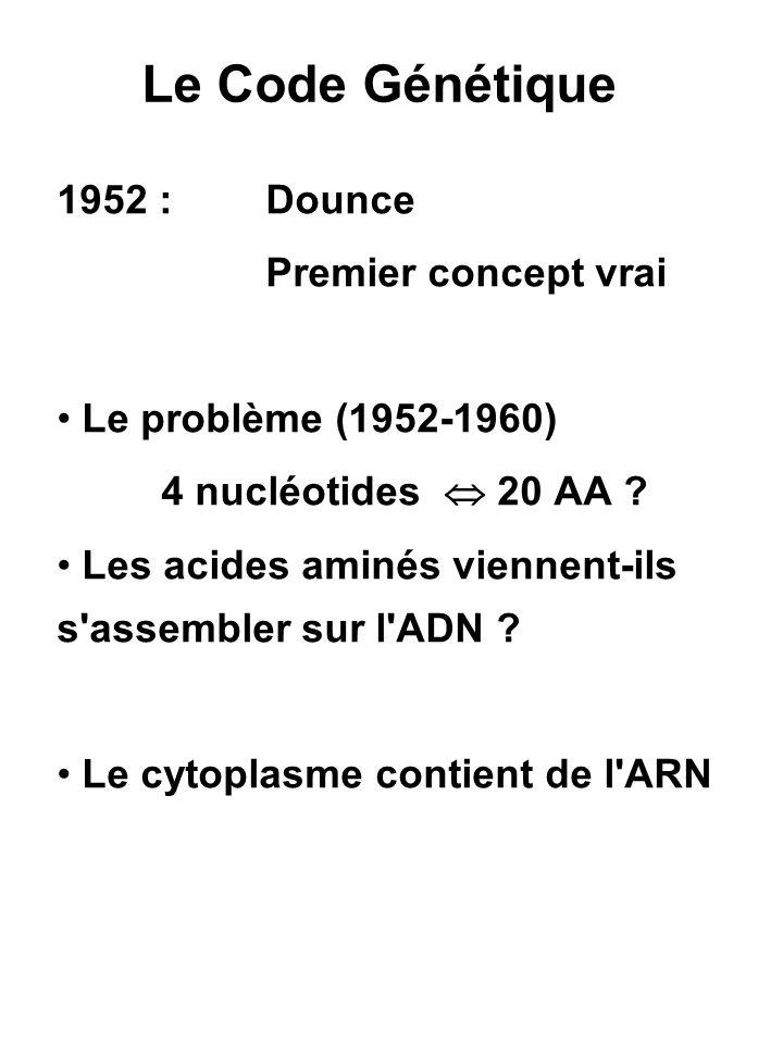 Le Code Génétique 1952 : Dounce Premier concept vrai