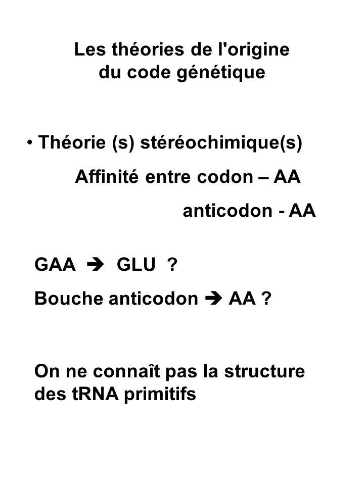 Les théories de l origine du code génétique