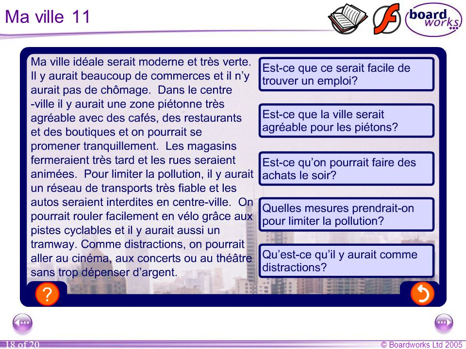 Ma ville 11 Questions (answers in brackets)