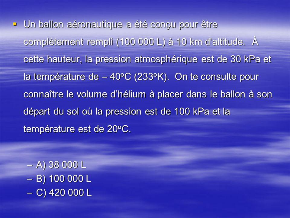 Un ballon aéronautique a été conçu pour être complètement rempli (100 000 L) à 10 km d'altitude. À cette hauteur, la pression atmosphérique est de 30 kPa et la température de – 40oC (233oK). On te consulte pour connaître le volume d'hélium à placer dans le ballon à son départ du sol où la pression est de 100 kPa et la température est de 20oC.