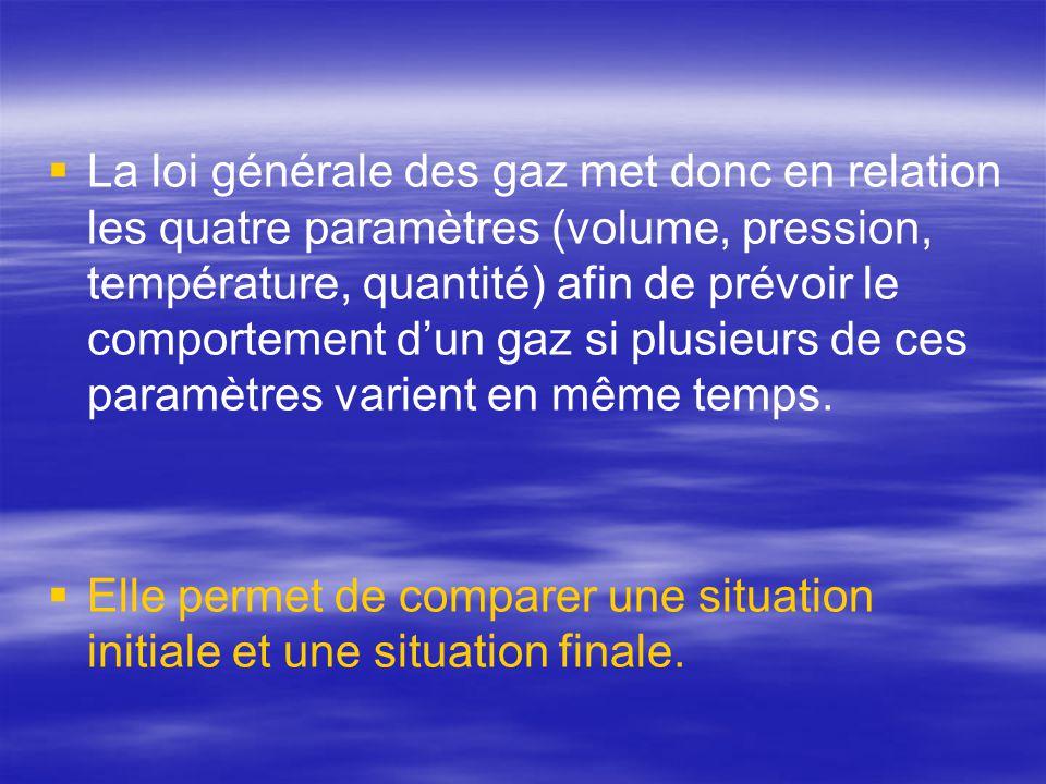 La loi générale des gaz met donc en relation les quatre paramètres (volume, pression, température, quantité) afin de prévoir le comportement d'un gaz si plusieurs de ces paramètres varient en même temps.