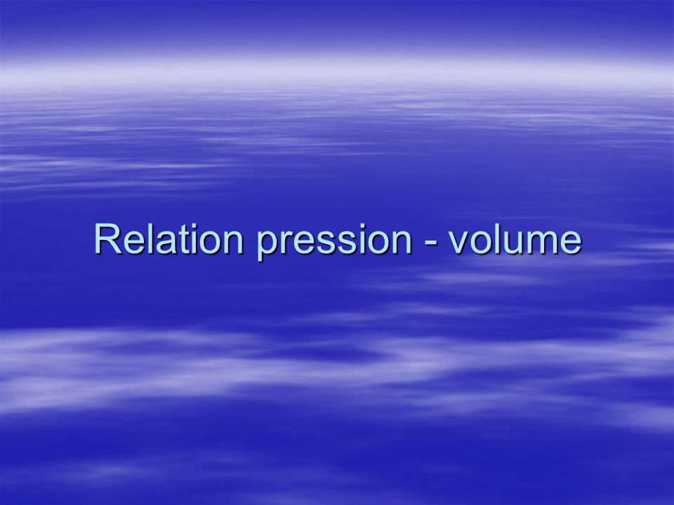Relation pression - volume