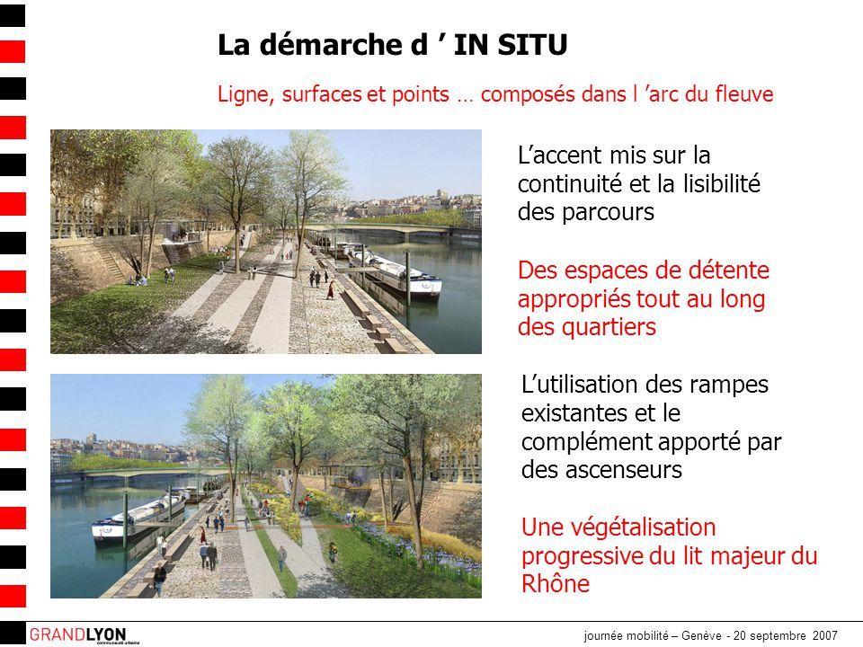 La démarche d ' IN SITU Ligne, surfaces et points … composés dans l 'arc du fleuve. L'accent mis sur la continuité et la lisibilité des parcours.