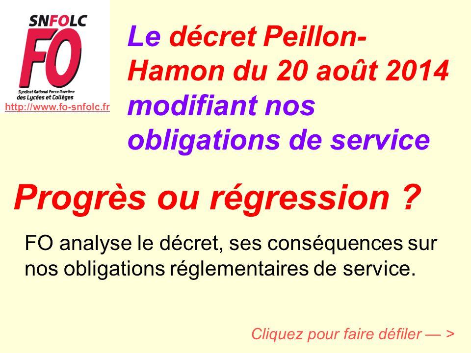 Le décret Peillon-Hamon du 20 août 2014 modifiant nos obligations de service