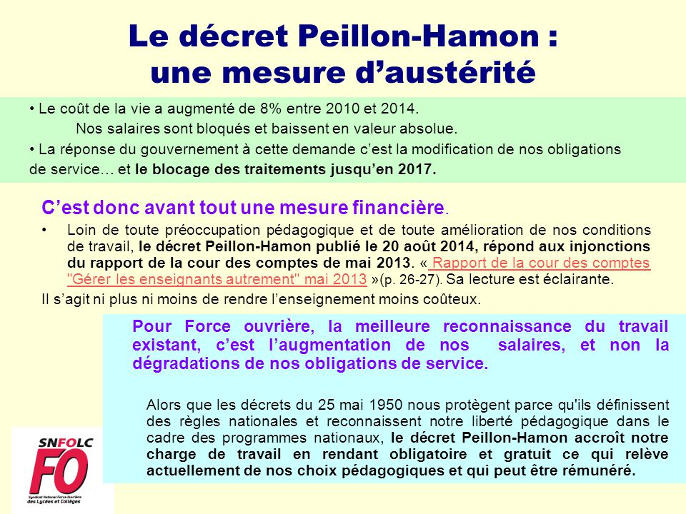 Le décret Peillon-Hamon : une mesure d'austérité