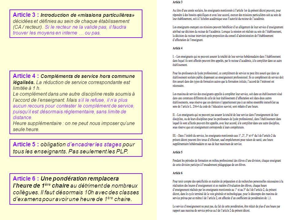 Article 6 : Une pondération remplacera