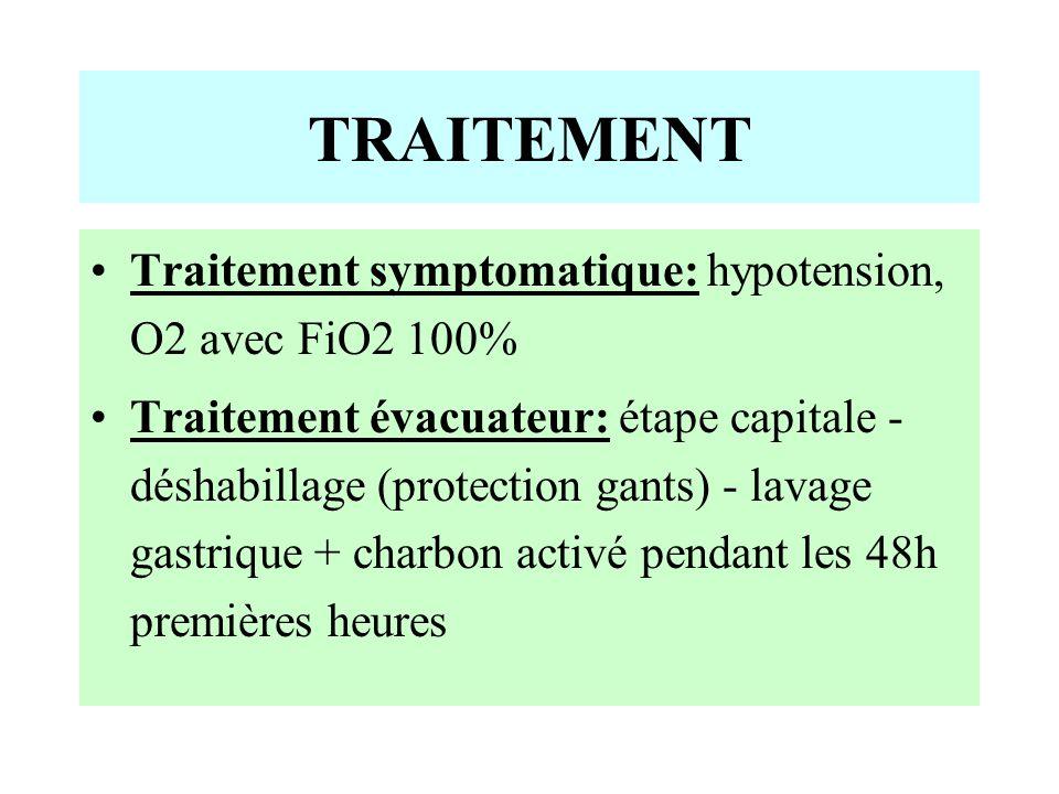 TRAITEMENT Traitement symptomatique: hypotension, O2 avec FiO2 100%
