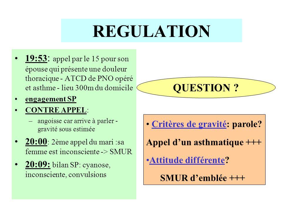 REGULATION 19:53: appel par le 15 pour son épouse qui présente une douleur thoracique - ATCD de PNO opéré et asthme - lieu 300m du domicile.