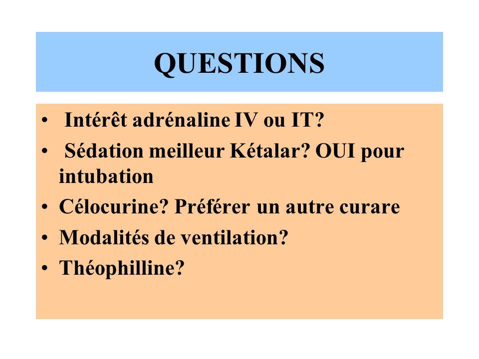 QUESTIONS Intérêt adrénaline IV ou IT