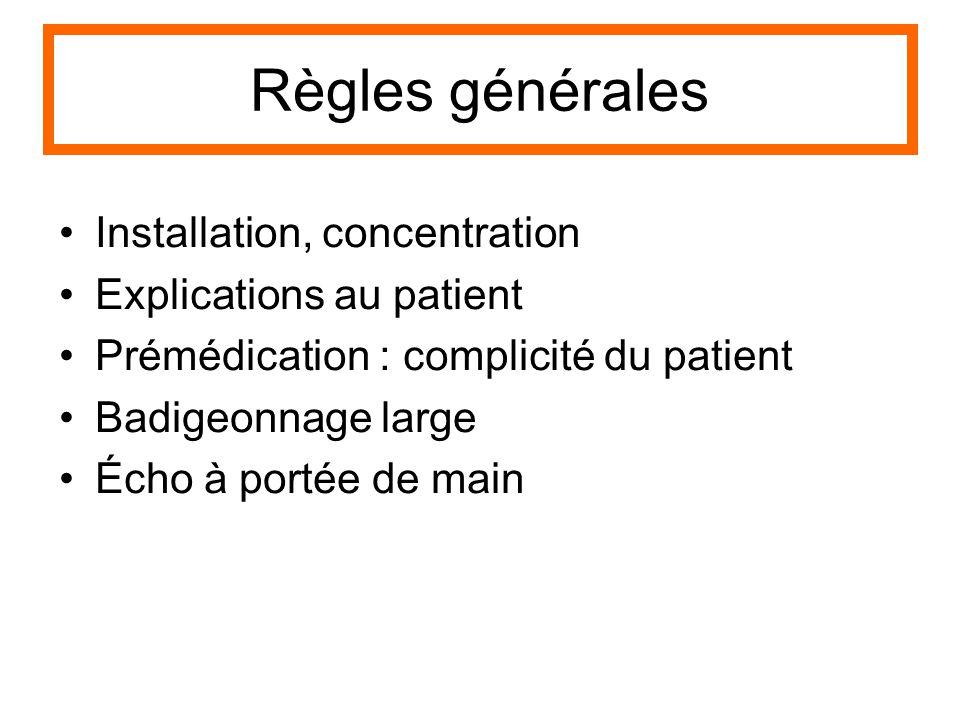 Règles générales Installation, concentration Explications au patient