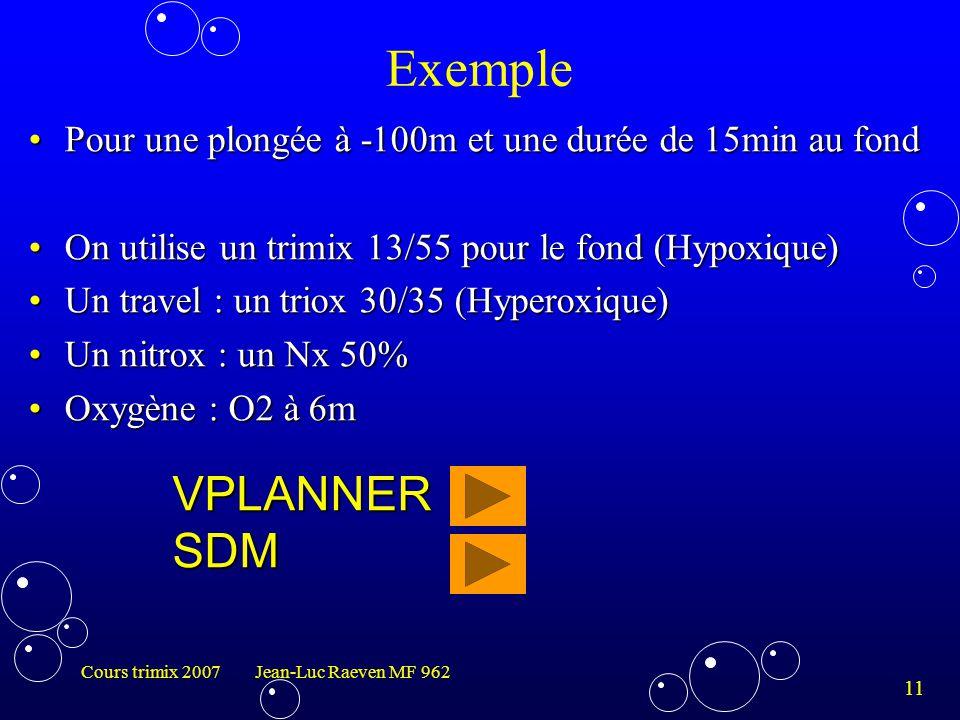 Exemple Pour une plongée à -100m et une durée de 15min au fond. On utilise un trimix 13/55 pour le fond (Hypoxique)