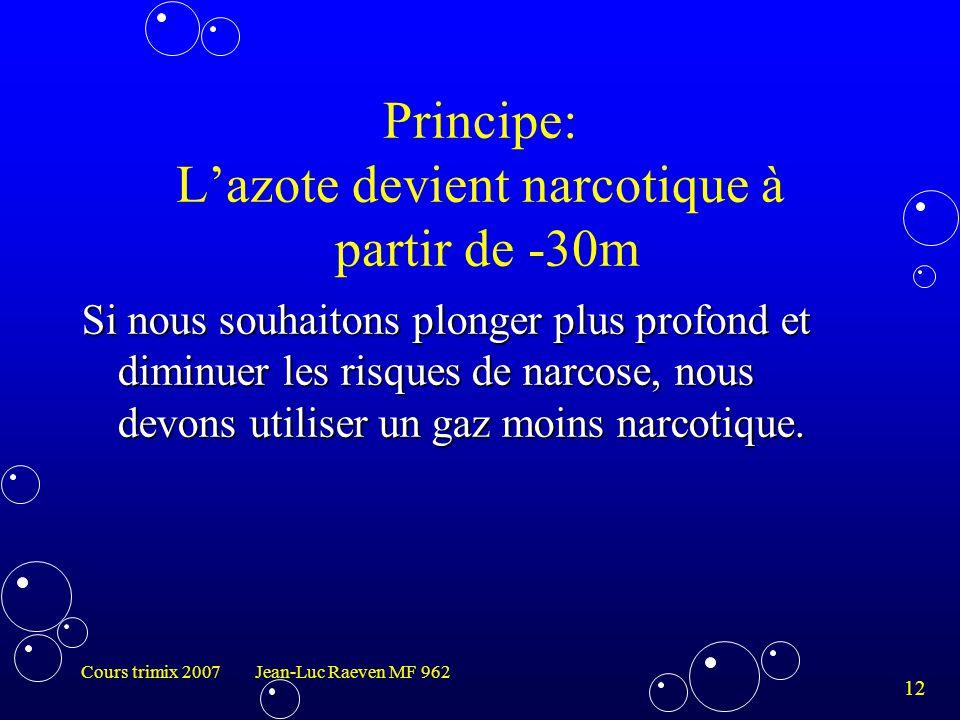 Principe: L'azote devient narcotique à partir de -30m