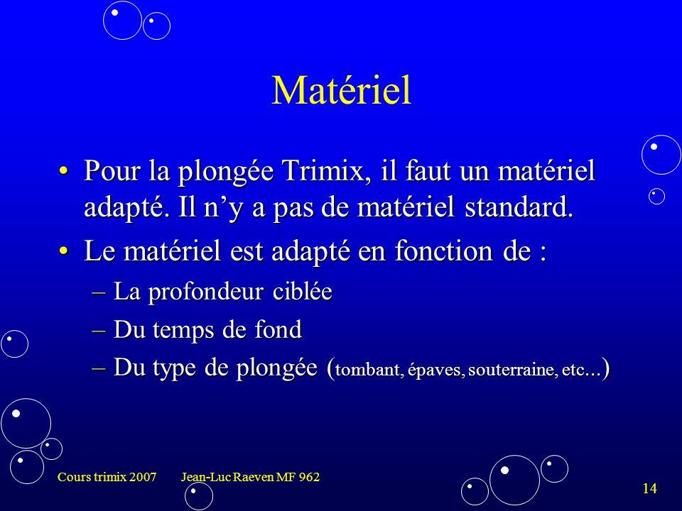 Matériel Pour la plongée Trimix, il faut un matériel adapté. Il n'y a pas de matériel standard. Le matériel est adapté en fonction de :