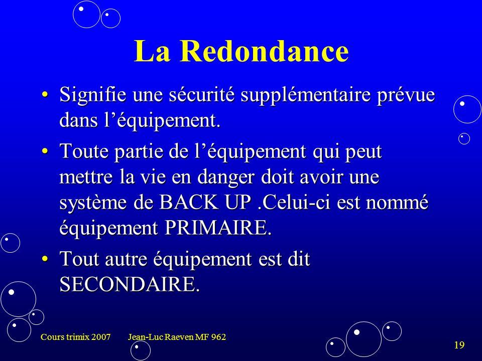 La Redondance Signifie une sécurité supplémentaire prévue dans l'équipement.