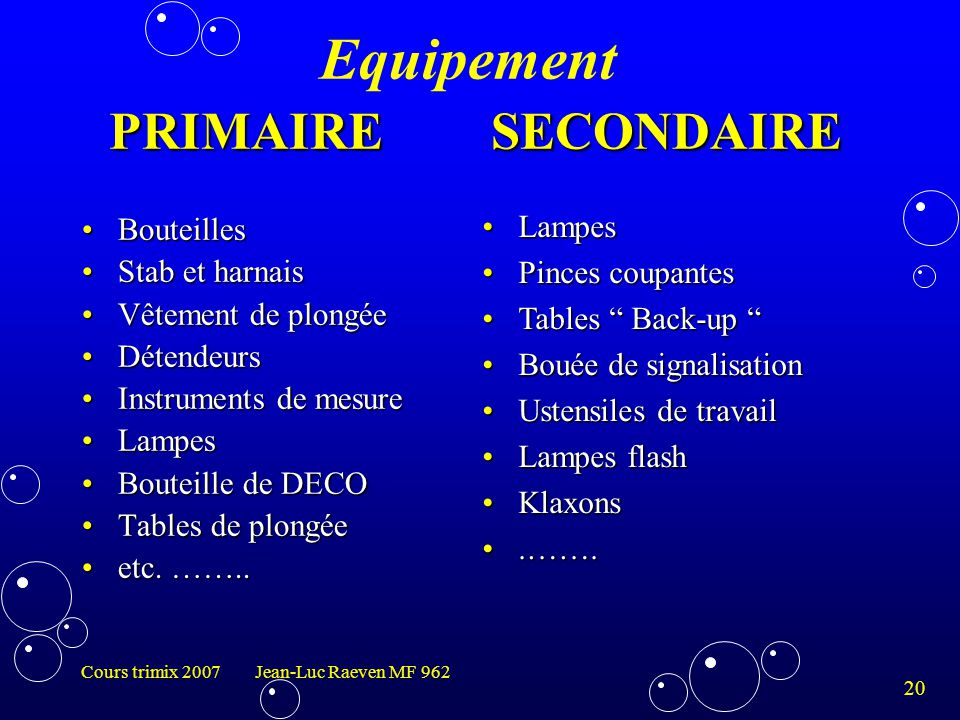 Equipement PRIMAIRE SECONDAIRE
