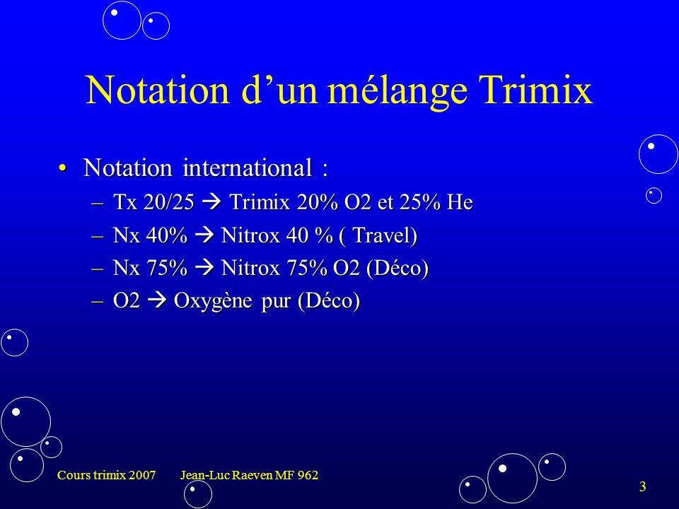 Notation d'un mélange Trimix