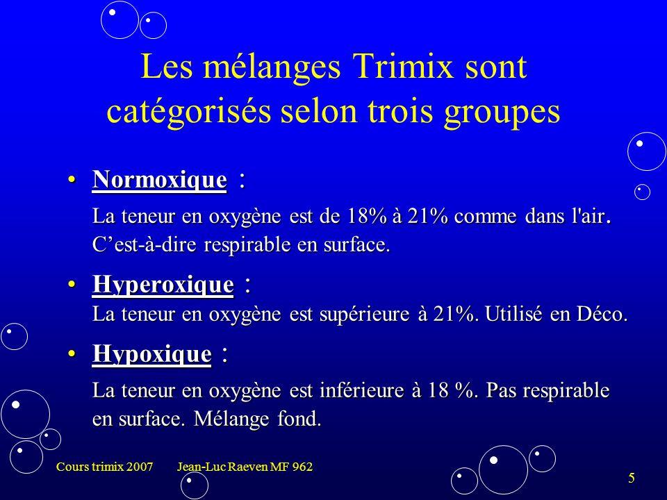 Les mélanges Trimix sont catégorisés selon trois groupes