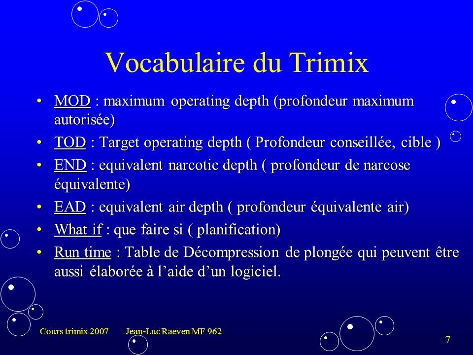 Vocabulaire du Trimix MOD : maximum operating depth (profondeur maximum autorisée) TOD : Target operating depth ( Profondeur conseillée, cible )