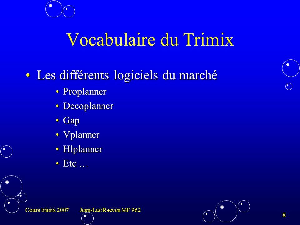 Vocabulaire du Trimix Les différents logiciels du marché Proplanner